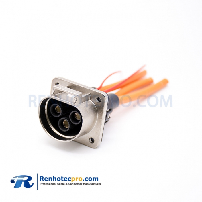 EV Connector 35A Straight Metal 3.6mm 3 Pin Socket High Voltage Interlock Connector For 6mm² Cable