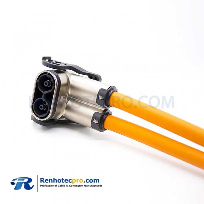 HV Connector Right Angle 2 Pin 6mm 125A Metal High Voltage Interlock Plug IP67 For 25mm² Cable