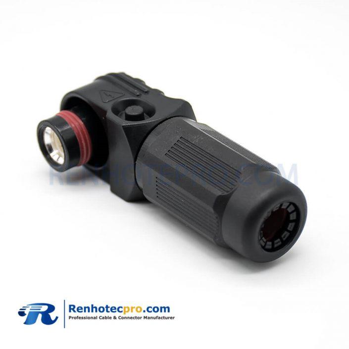 SurLok Plus HV Connector Male Black Right Angle Plug 1 Pin 12MM Plastic IP67 SurLok Plus