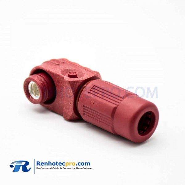Battery Storage Systems High Voltage High Current Connector Male 6mm 1 Pin IP67 Plastic Cable Red Right Angle Plug