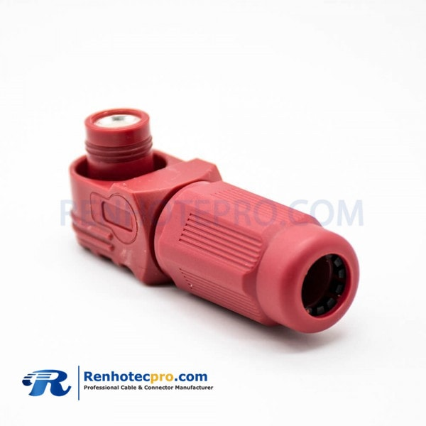 Waterproof High Current Battery Connectors 1 Pin 12MM Male Right Angle Red Plastic Socket