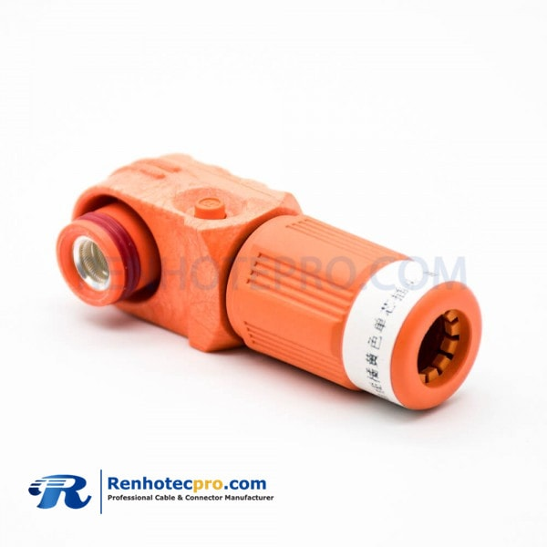 Connector For High Current Male IP67 1 Pin Cable Plastic Orange 8mm Right Angle Plug High Voltage Battery Connector