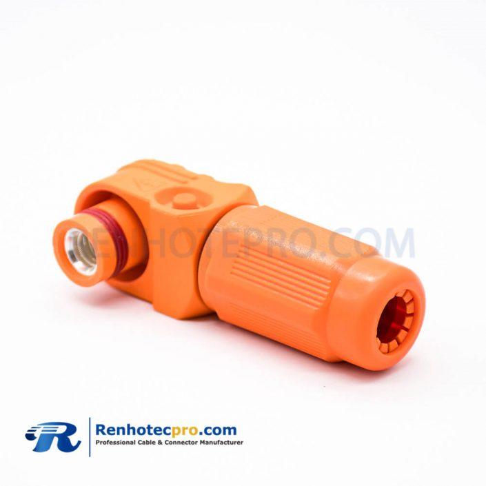 1 Pin Waterproof Connector SurLok Plus Orange Male Plug 12MM Plastic IP67 Right Angle HV Connector