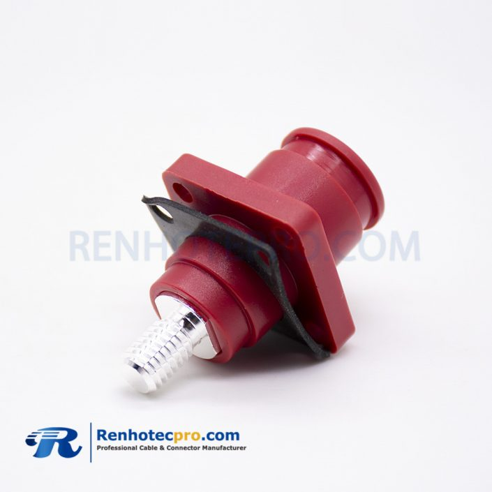 High Voltage Battery Connector Female Straight Red Plastic External Thread Socket