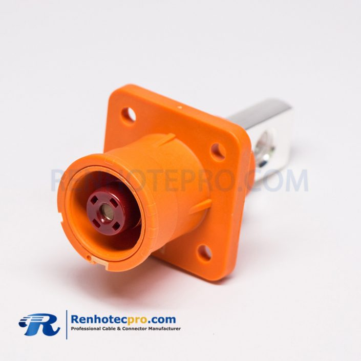 SurLok Clamps Battery Storage Connector 12mm Straight Socket With Hole Orange Plastic Socket