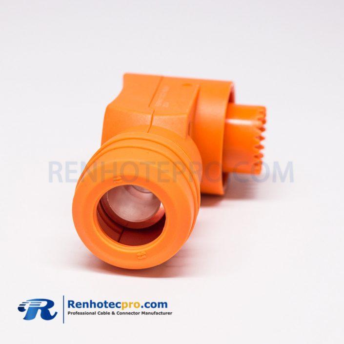 HV Connectors 350A 12mm Crimp Type Orange Right Angle Plug 95mm² Battery Storage Connector