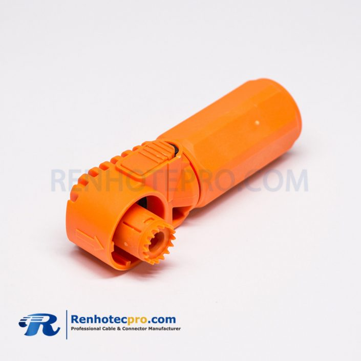 HV Cable Connector Right Angle Crimp Type Orange Straight Plastic Waterproof Plug