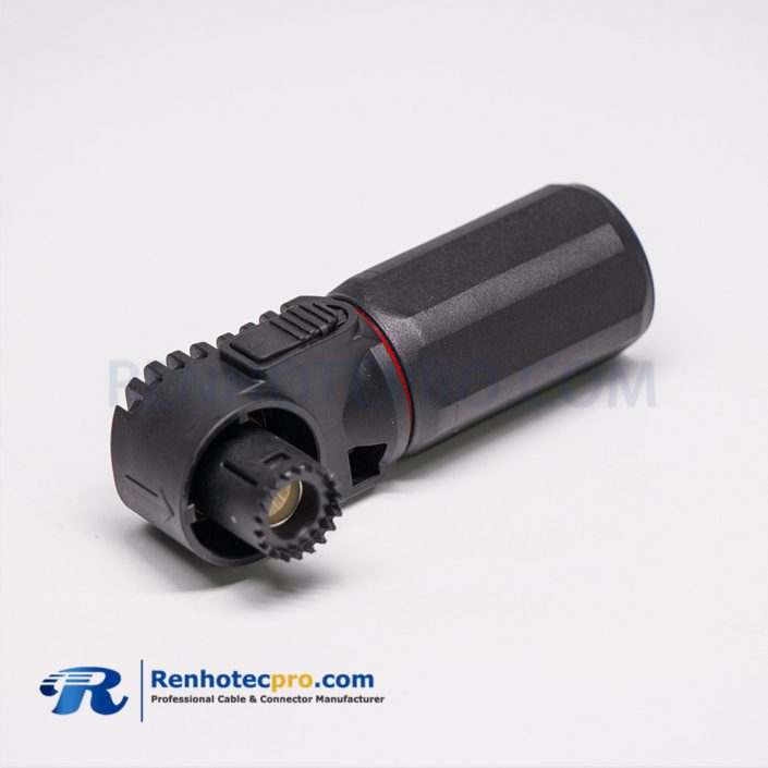 Waterproof High Current Battery Connectors Right Angle Black Plastic Crimp Type Plug