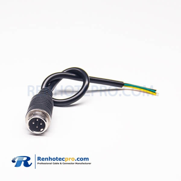 GX12 4Pin Male Screw Mounting Cable Connector Aviation Plug With Cable Length 30CM