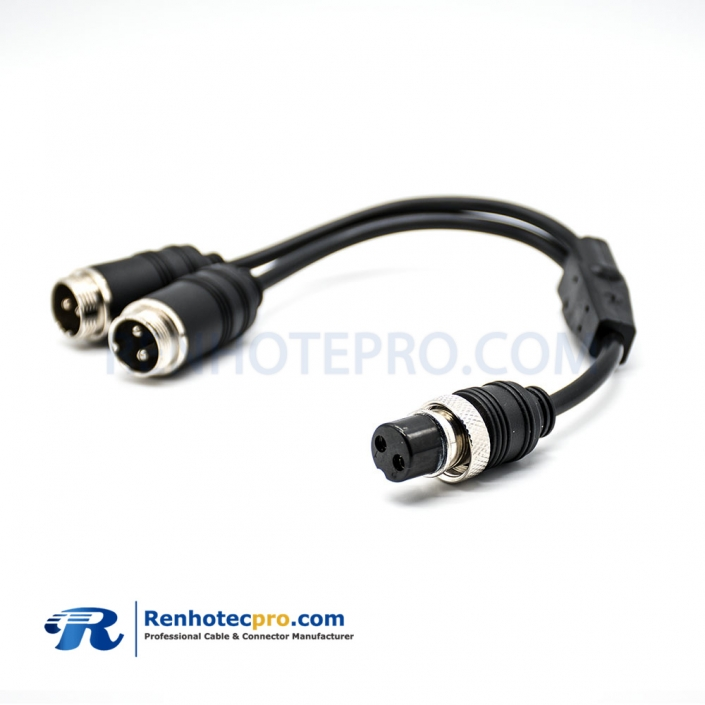 GX12 2Pin Straight Double ended Cable Female to Male Y Type 1 to 2 20cm
