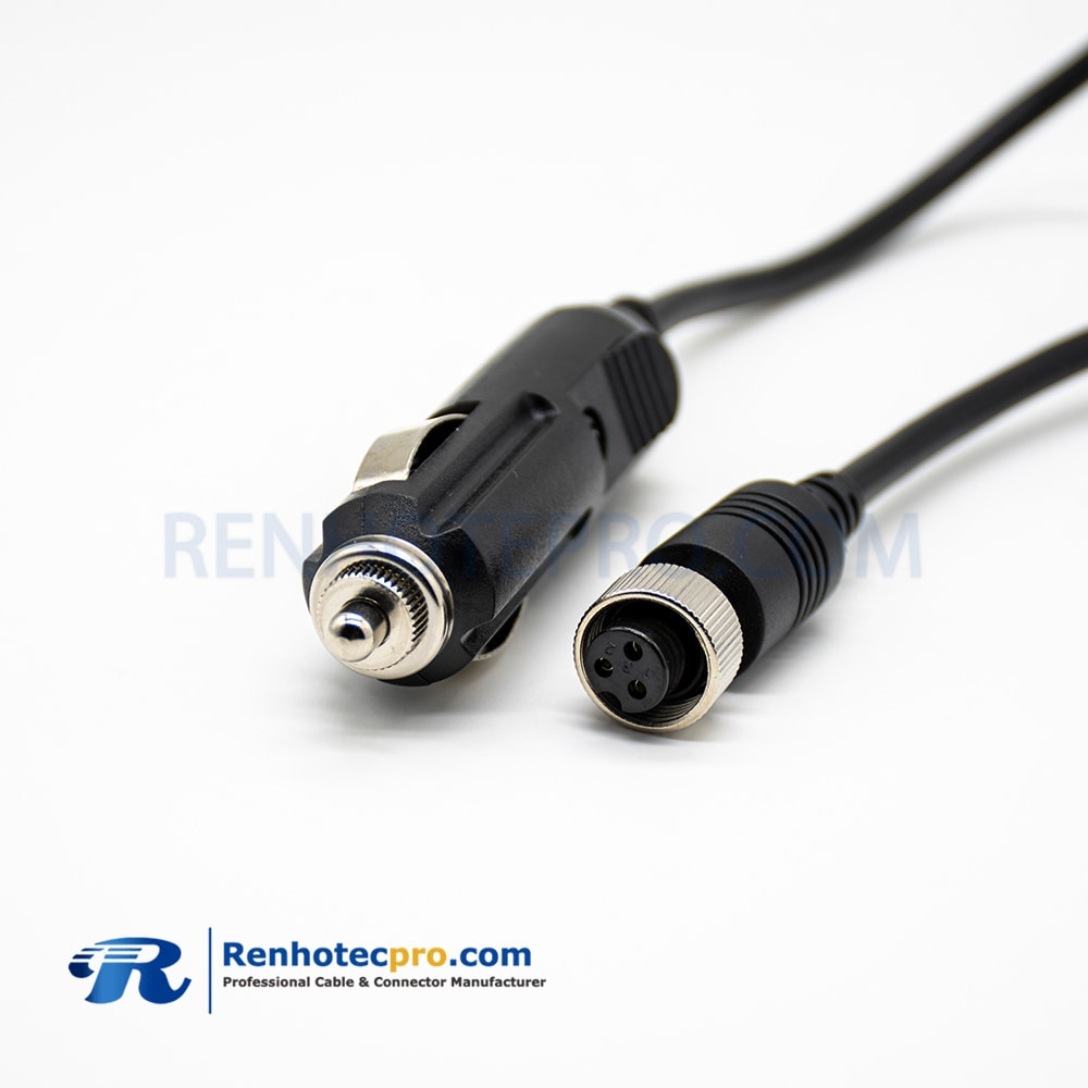 GX12-3 Pin Female Connector To Cigarette Lighter Plug Straight Cable Length 60CM