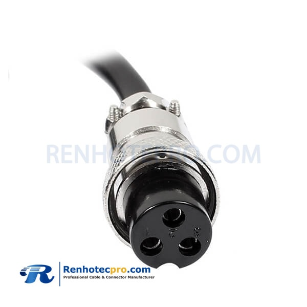 GX16-3 Pin Single Ended Cable Female Aviation Connector Straight with PVC/PUR Cable 1M