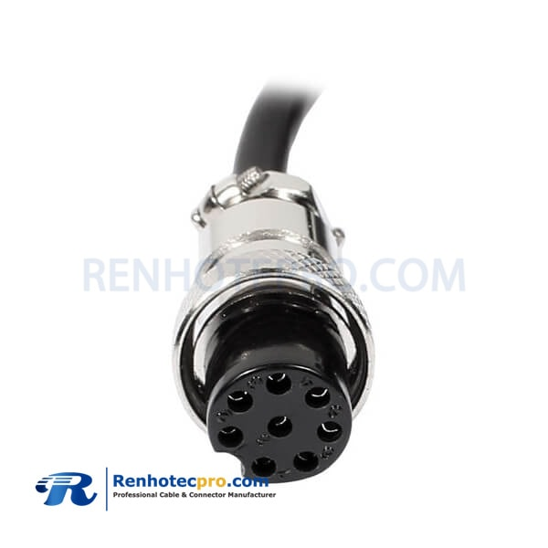 GX16-8 Pin Female Cordset Aviation Connector Single Ended Cable 1M