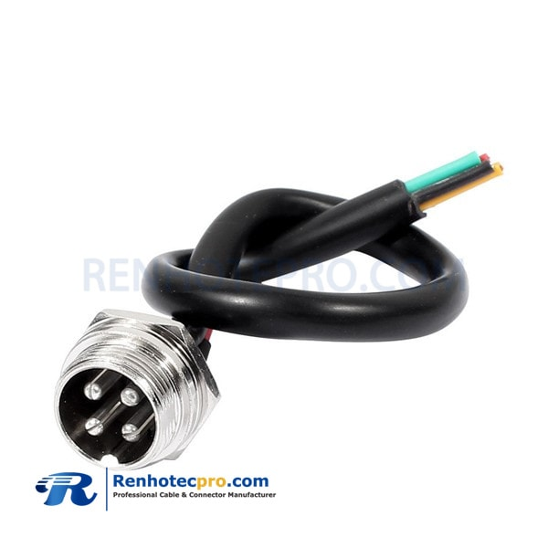 GX16 4Pin Aviation Socket Cable Male Head Plug Electrical Straight Cable 1M