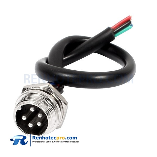 GX16 5 Pin Male Socket Connector Air Plug Single Cable Cordset 1M
