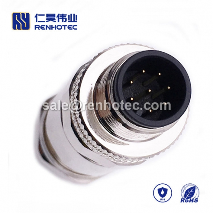 M12 Field Wireable Connector, A Code, 8pin, Male, Straight, Cable, Screw-Joint, Shield, Metal,
