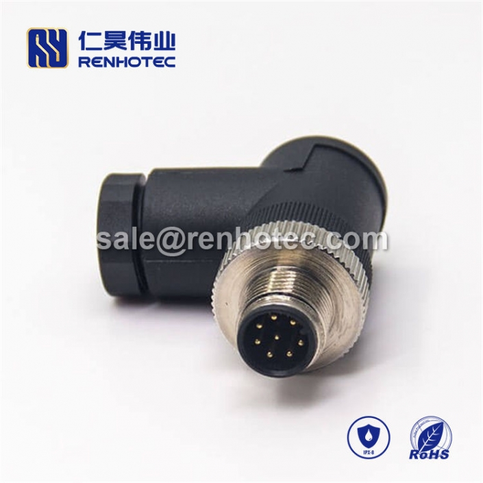 M12 Field Wireable Connector, A Code, 8pin, Male, Right Angle, Cable, Screw-Joint, Non-shield, Plastic, PG7 / PG9