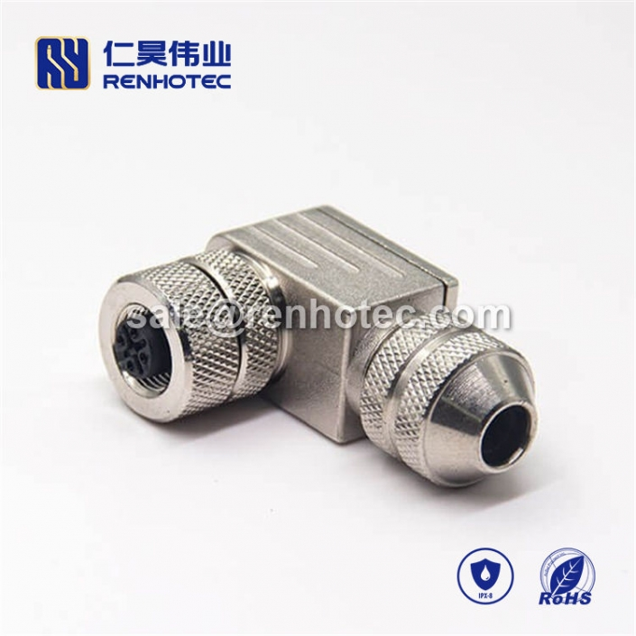 M12 Field Wireable Connector, A Code, 5pin, Female, Right Angle, Cable, Screw-Joint, Shield, Metal