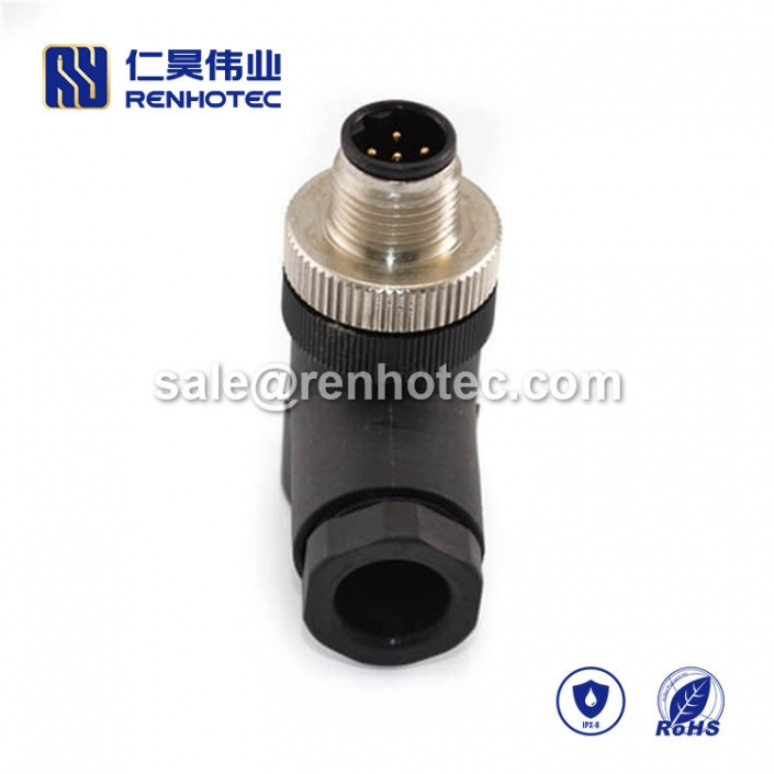 M12 Field Wireable Connector, B Code, 5pin, Male, Right Angle, Cable, Screw-Joint, Non-shield, Plastic, PG7 / PG9