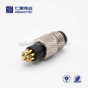 m8 Connector Male 8 pin Male Straight Overmolded Solder Cup Unshielded A code