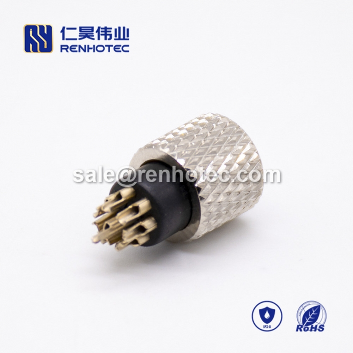 m8 8pin Connector Female Straight Solder Cup Overmolded Unshielded A code