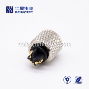 m8 3pin Female lnjection Molding Connector Straight Solder Cup Unshielded