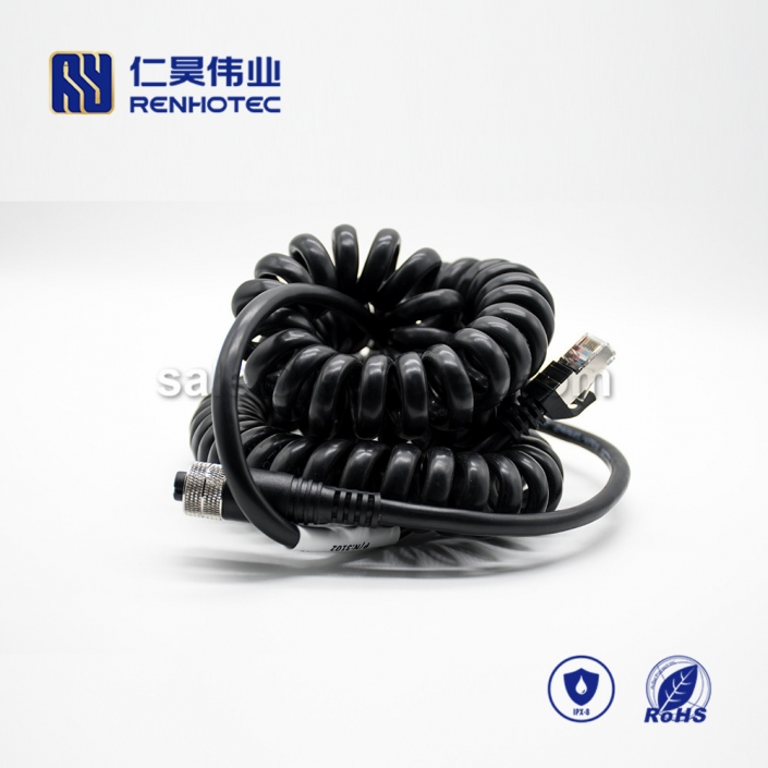 M12 Overmolded Cable, , 4pin, Female, Straight, Cable, Solder, Double Ended Cable, M12 to RJ45,M12 Power Cable