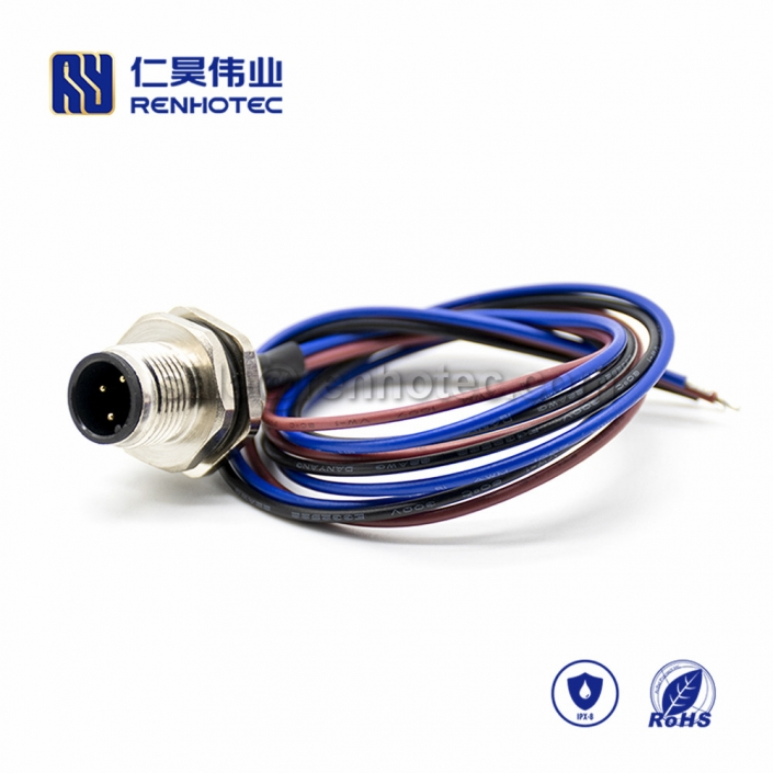 M12 Wire Harness A Code 3pin Male Straight Solder Back Mount 0.5M Single Ended Power Cable AWG22 PG9
