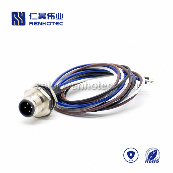 M12 Wire Harness, A Code, 4pin, Male, Straight, Cable, Solder, Back Mount, Single Ended Cable, , AWG22, 0.2M, PG9, M12 Power Cable