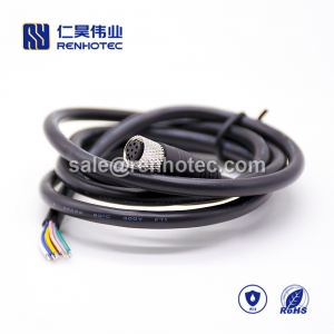 M8 Overmolded Cable A Code 8pin Female Straight Solder Single Ended Cable