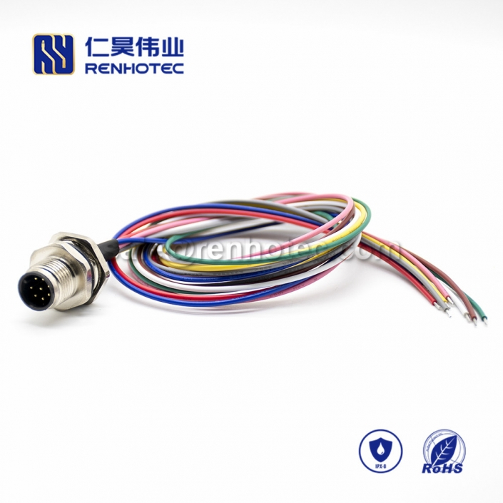 M12 Wire Harness A Code 8pin Male Straight Solder Back Mount 0.2M Single Ended Power Cable AWG24 PG9