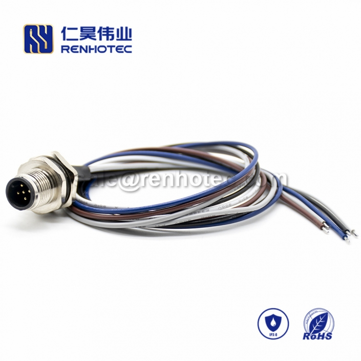 M12 Wire Harness, A Code, 5pin, Male, Straight, Cable, Solder, Back Mount, Single Ended Cable, , AWG22, 0.2M, PG9, M12 Power Cable