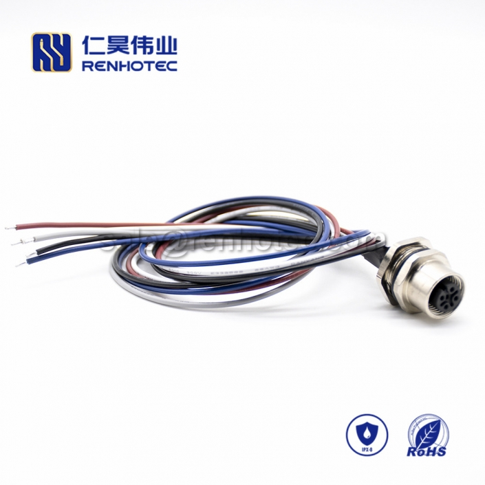 M12 Wire Harness, A Code, 5pin, Female, Straight, Cable, Solder, Back Mount, Single Ended Cable, , AWG22, 0.2M, PG9, M12 Power Cable