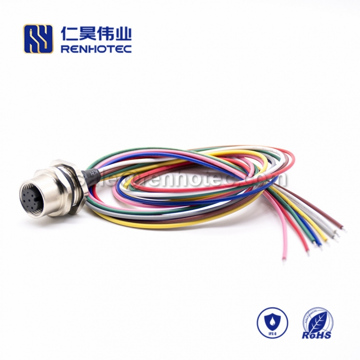 M12 Wire Harness, A Code, 8pin, Female, Straight, Cable, Solder, Back Mount, Single Ended Cable, , AWG24, 0.2M, PG9, M12 Power Cable