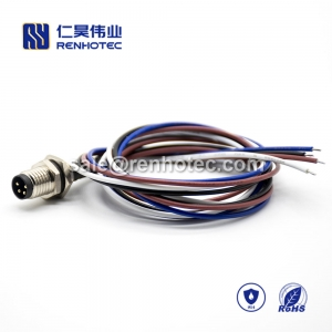 M8 Wire Harness, , 4pin, Male, Straight, Cable, Solder, Back Mount, Single Ended Cable, , , 0.2M