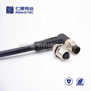 M8 Overmolded Cable A Code 8pin Male Right Angle Solder Single Ended Cable