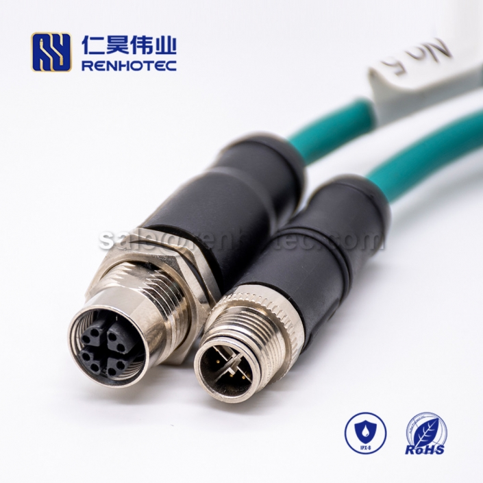 M12 Overmolded Cable, X Code, 8pin, Male to Female, Straight, Cable, Solder, Double Ended Cable, M12 to M12, M12 Power Cable