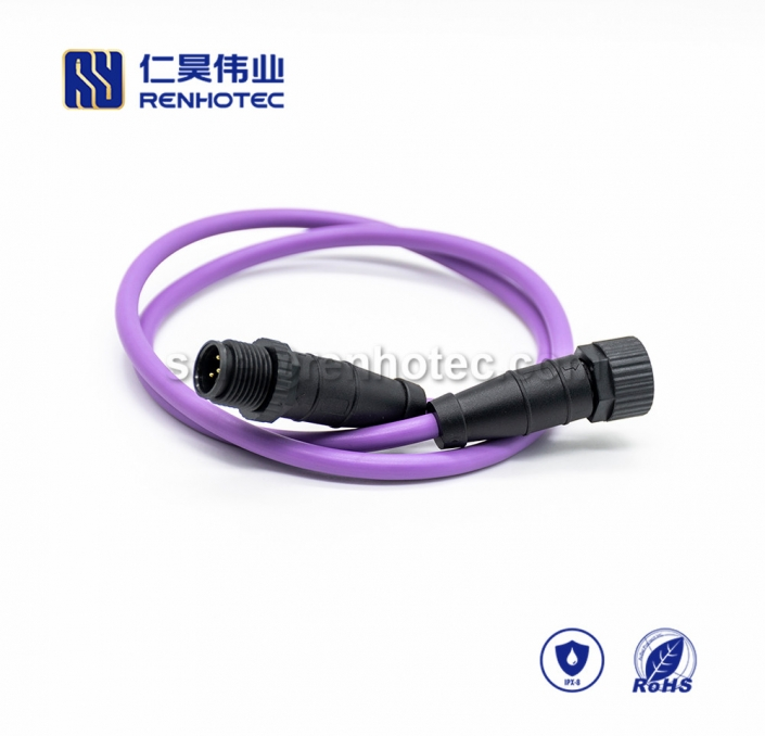 M12 Overmolded Cable, A Code, 5pin, Male to Female, Straight, Cable, Solder, Double Ended Cable, Plastic Shell, M12 Power Cable