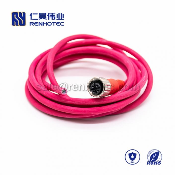 M12 Overmolded Cable, A Code, 3pin, Female, Straight, Cable, Solder, Single Ended Cable,M12 Power Cable