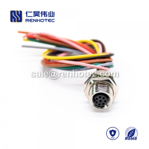 M8 Wire Harness A Code 8pin Female Straight Solder Front Mount Single Ended Cable