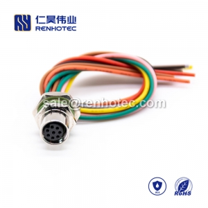 M8 Wire Harness A Code 8pin Female Straight Solder Back Mount Single Ended Cable