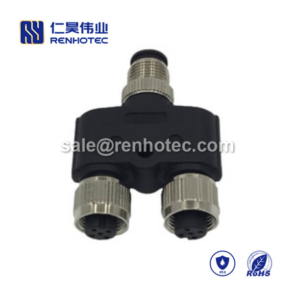 M8 Adapter Waterproof M8 Splitter A Code 5pin Male to Dual Female Y Type M8 to M8