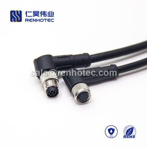 M8 Overmolded Cable A Code 8pin Male to Female Right Angle Solder 1M Double Ended Cable M8 to M8 26AWG