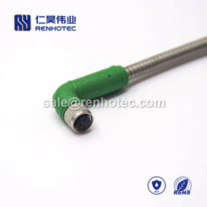 M8 Overmolded Cable 3pin Female to Female Right Angle Solder 1M Double Ended Cable M8 to M8 24AWG
