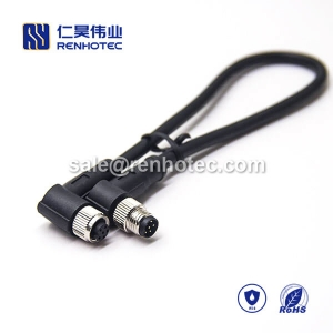 M8 Overmolded Cable A Code 6pin Male to Female Right Angle Solder 1M Double Ended Cable M8 to M8 26AWG