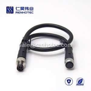 M8 Overmolded Cable A Code 6pin Male to Female Straight Solder 50CM Double Ended Cable M8 to M8 26AWG