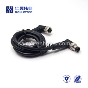 M8 Overmolded Cable 3pin Male to Female Right Angle Solder 2M Double Ended Cable M8 to M8 24AWG
