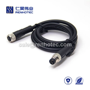 M8 Overmolded Cable 4pin Male to Female Straight Solder 2M Double Ended Cable M8 to M8 24AWG