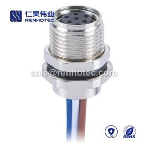 M8 Wire Harness A Code 6pin Female Straight Solder Front Mount 50CM Single Ended Cable 26AWG
